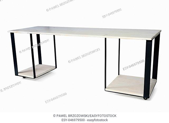 Modern Workspace Table Made of Wood and Metal Isolated on White Background