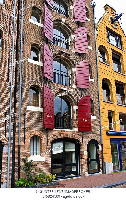 Gracht houses with red shutters on Brouwersgracht, Amsterdam, Netherlands, Europe