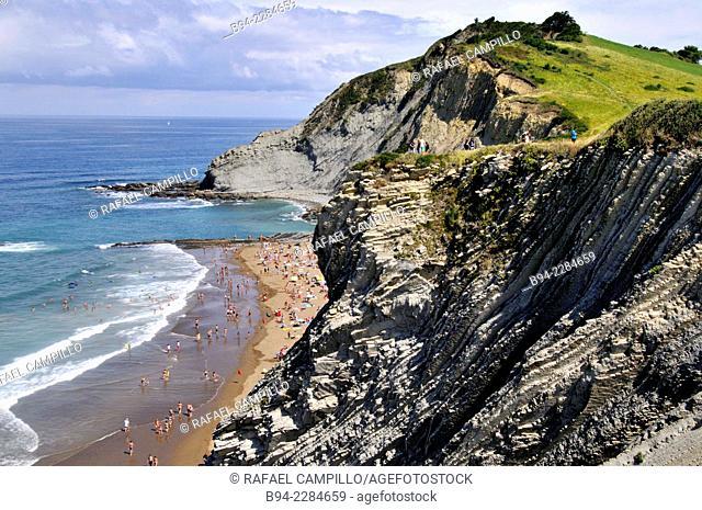 Itzurun beach, Zumaia, Guipuzcoa, Basque Country, Spain