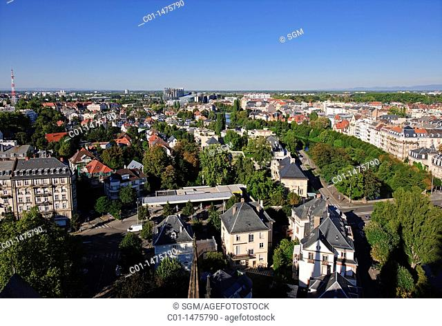 Residential district panorama, Strasbourg, Alsace, France