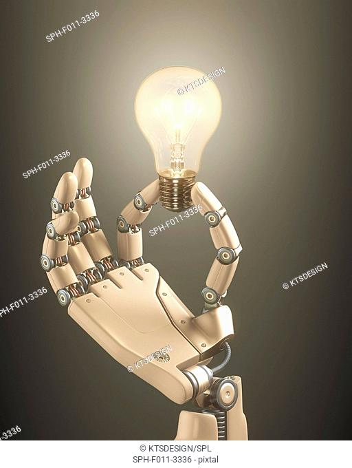 Robotic hand holding a light bulb, computer illustration