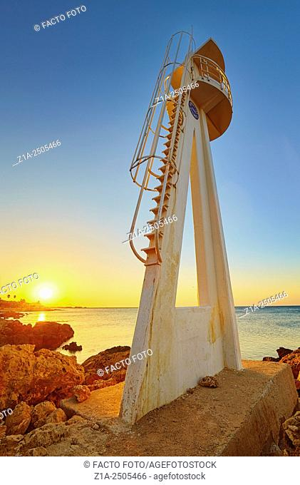 "Watchtower at """"Las Rotas"""" beach. Denia. Alicante. Valencia Community. Spain"