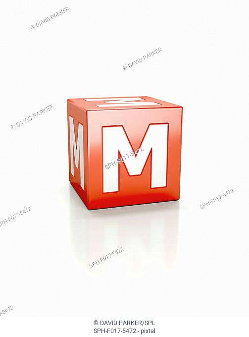 Red cube with letter M