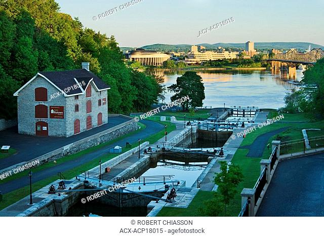 View of the Rideau Canal locks and the city of Hull from a terrace next to the Chateau Laurier, Ottawa, Ontario, Canada