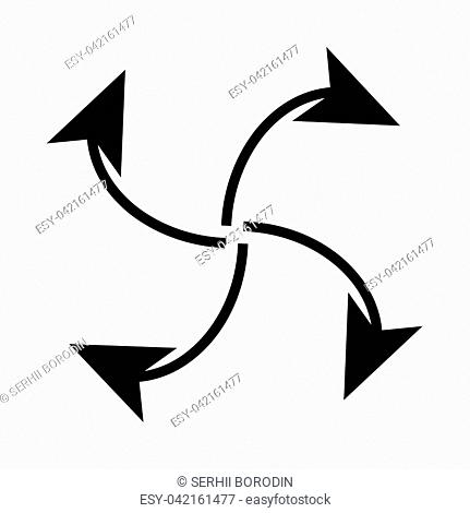 Four arrows in loop from center it is black icon . Flat style