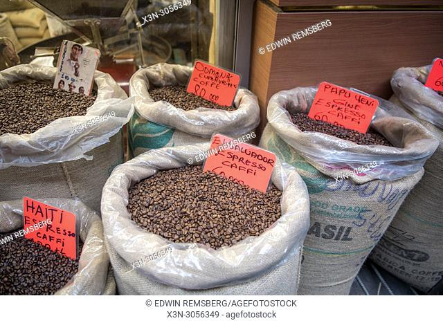 Linen bags are filled to the brim with a variety of different blends of roasted coffee beans, Istanbul, Turkey