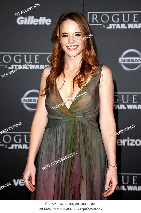 Katie Leclerc attending the premiere of Walt Disney Pictures and Lucasfilm's 'Rogue One: A Star Wars Story' at the Pantages Theatre in Hollywood, California