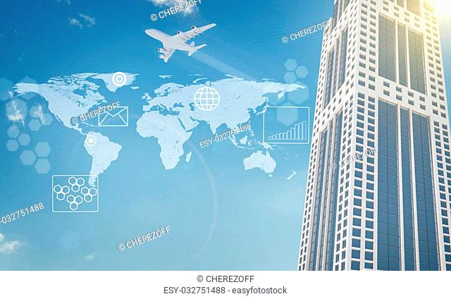 World map, graphs and skyscraper on blue sky background