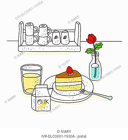 Illustration of pastry against cups arranged in stand