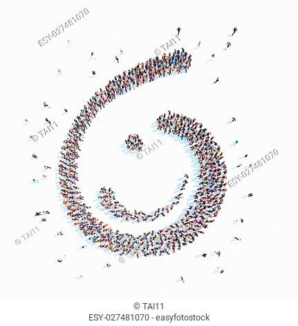 Large group of people in the form of an abstract symbol business. Isolated, white background