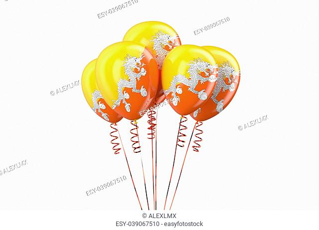 Bhutan patriotic balloons, holyday concept isolated on white background