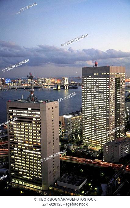 Japan, Tokyo, harbour area skyline at night, general aerial view