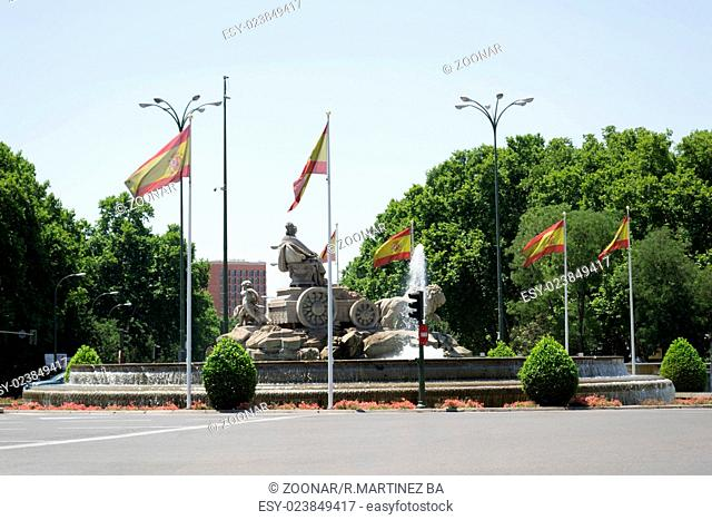 Cybele fountain with Spanish flags