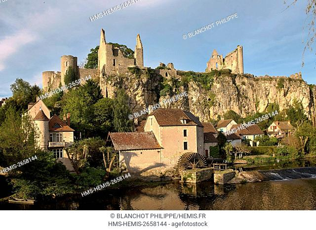 France, Vienne, Angles sur l'Anglin, labeled the most beautiful villages in France, castle from the 12th century and the Watermill