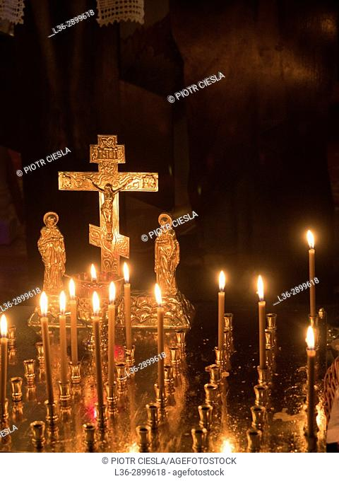Poland. Christmas Liturgy in the orthodox church in Mielnik. Podlasie region