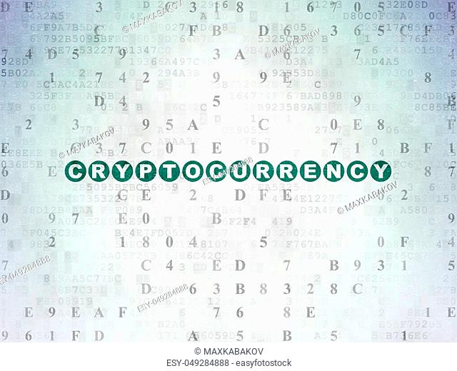 Data concept: Painted green text Cryptocurrency on Digital Data Paper background with Hexadecimal Code