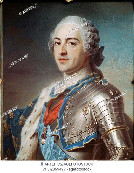 Maurice-Quentin de La Tour (1704-1788) . French school. Portrait of Louis XV the Beloved in armour (1710-1774). 18th century. Pastel