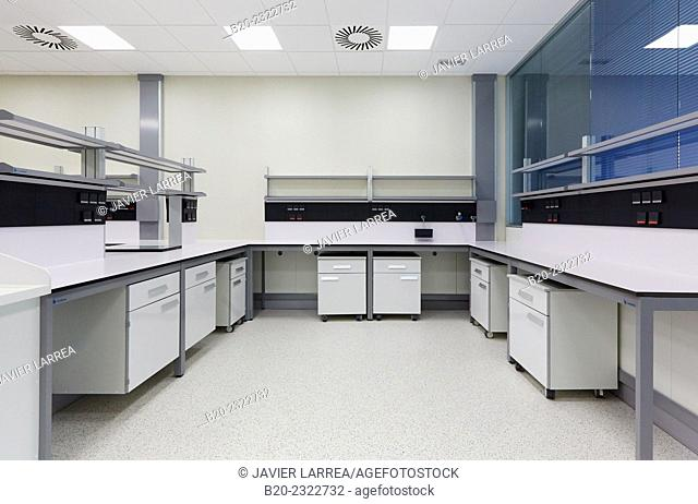 Chemical laboratory. Empty room. Research building. Incubator startups. Technology Park. Zamudio. Bizkaia. Basque Country. Spain