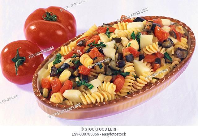 Fusilli with aubergines and mozzarella