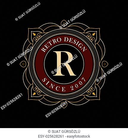 Vector luxury elegant frame ornament line logo design. Monogram emblem template. Ideal for restaurant, hotel, jewelry, boutique, cafe, heraldic