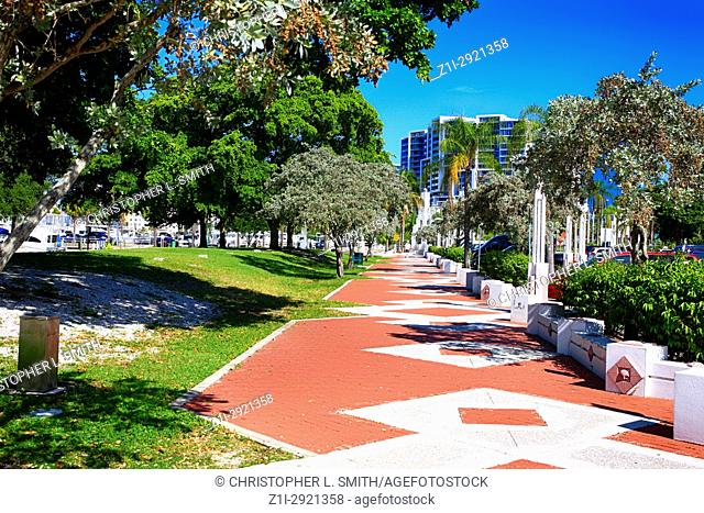 Marina Jack Trail along the waterfront in Sarasota FL, USA