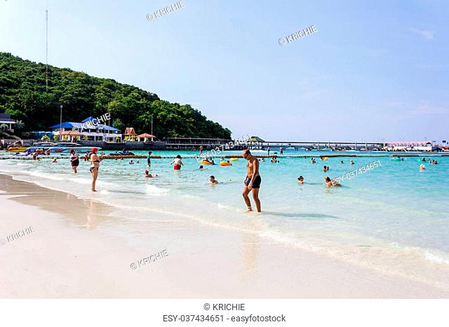 People are resting on the beach at Koh Larn Island,Pattaya,Thailand