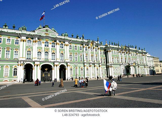 Hermitage Museum, (Hermitage State Museum), St. Petersburg, or Saint-Petersburg, former Leningrad, Russia, at Dvortsovaya Ploshchad or Palace Square