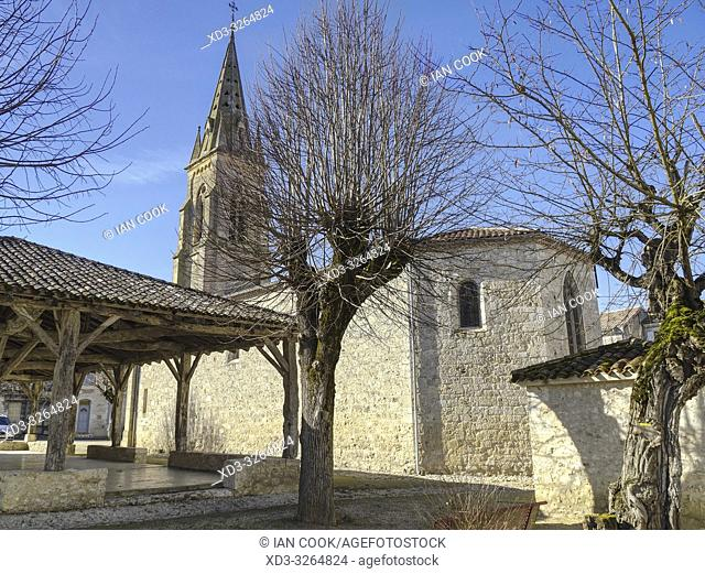 market halle and Protestant Church, Laparade, Lot-et-Garonne Department, Nouvelle Aquitaine, France