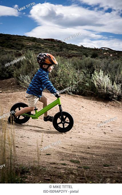 Toddler cycling, Trailside Bike Park, Park City, Utah, USA