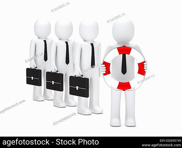 3d business men briefcase and lifebelt