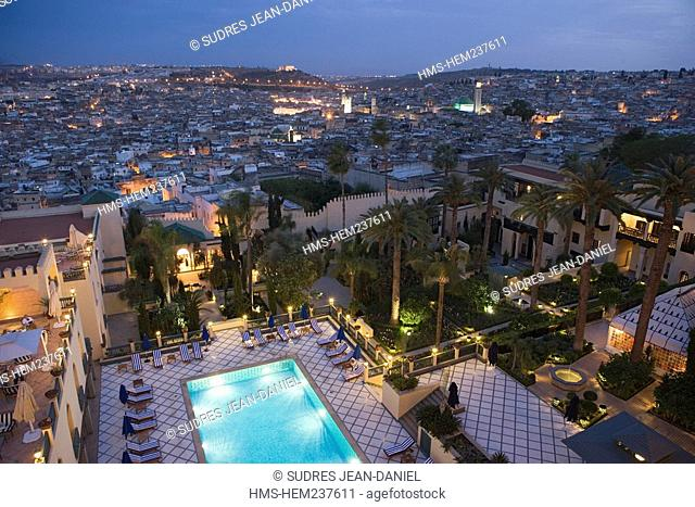 Morocco, Middle Atlas, Fez, Imperial City, Fez El Bali, medina listed as World Heritage by UNESCO, the minarets of the mosques seen at night fall from the Jamai...