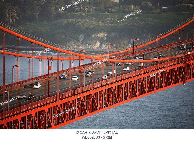 Detail of the bridge deck of the Golden Gate Bridge, San Francisco, California, United States of America