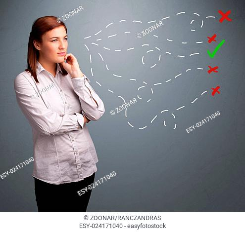 Young woman choosing between right and wrong signs