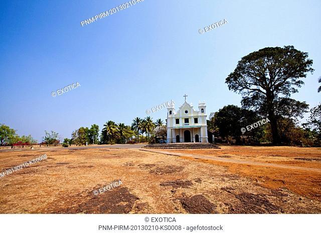 Facade of a church, Chapel of Calcada de Nossa Senhora de Piedade, Monte Hill, Margao, South Goa, Goa, India