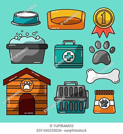 pet accessories grooming and veterinary care vector illustration