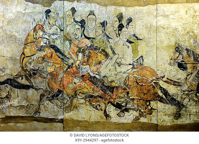 Northern Qi Dynasty. Detail of The Procession mural from the Lourui Tomb in Wangguo Village, Taiyuan city, Shanxi Province, China