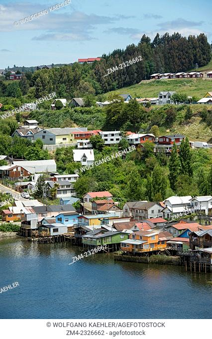 View of houses on stilts (palafito) in the town of Castro on Chiloe Island in southern Chile