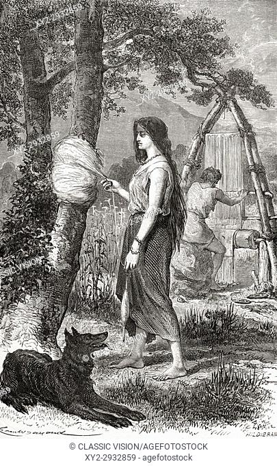 A woman weaving during the Bronze Age. From L'Homme Primitif, published 1870