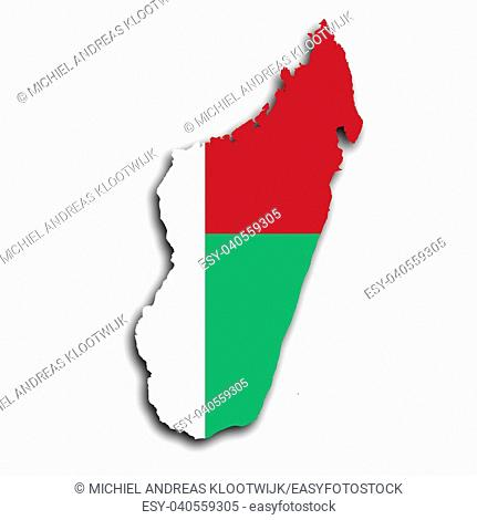 Map of Madagascar filled with the national flag