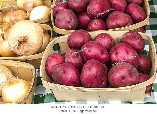 A table display of fresh potatoes and onions for sale at a farmer's market