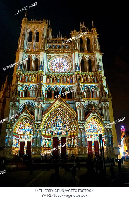 France, Somme (80), Amiens, Cathedrale Notre-Dame of Amiens by night