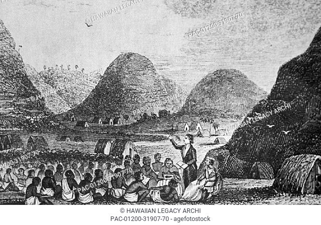 c.1825 Hawaii, Oahu, Waimea, view of Reverend Hiram Bingham preaching outdoors, black and white