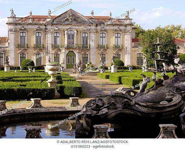 Ceremonial Facade Room Queluz Palace Gardens Neptune Fountain Lisbon Coast Portugal façade