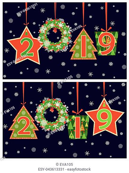 Banner for 2019 New Year season greeting applique with hanging cut out numbers, gift box, wreath, fir, star and snowflakes