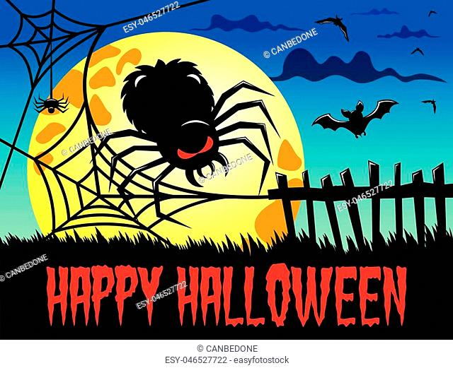 Happy Halloween background featuring big spider against big full moon