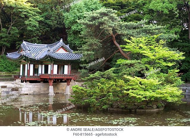 Secret garden with pagoda at Changdeokgung Palace, Seoul, South Korea