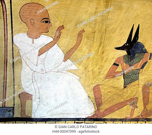 Luxor, Egypt, tomb of Inherkhau (TT359), in the Asasif necropolis: the deceased in front of a priest wearing a mask of the god Anubis