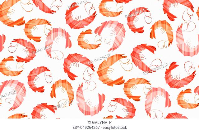 Decorative stylish shrimp seamless pattern. Stock vector illustration. Repeat motif for background, wrapping paper, fabric, surface design
