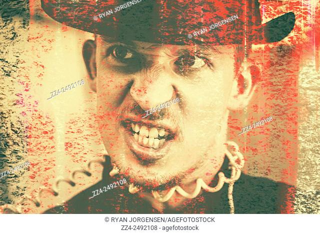 Funny close-up abstracted portrait of an angry vintage businessman shouting with telephone wire wrapped around neck. Distress in discourse
