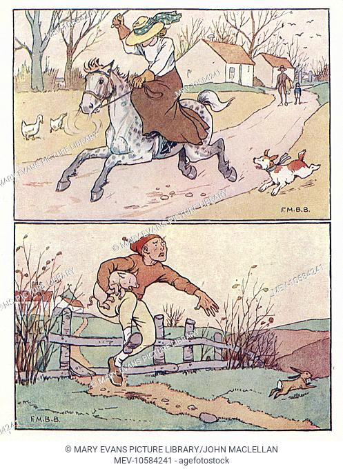 Nursery Rhymes -- two illustrations. Above -- a woman on a runaway horse. Below -- Tom the Piper's Son stealing a pig